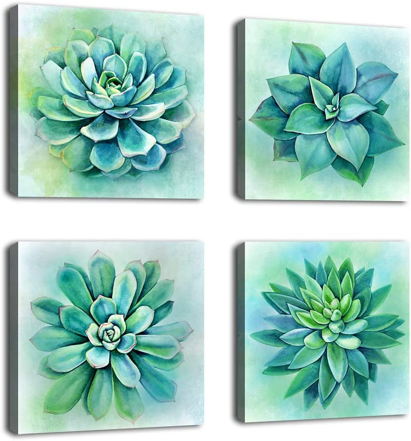 "Succulent Canvas Wall Art Bathroom Decoration Large Green Tropical Plants Canvas Picture Bedroom Wall Decor Modern Artwork Prints for Living Room Office Home Wall Decor 16"" x 16"" x 4 Pieces"