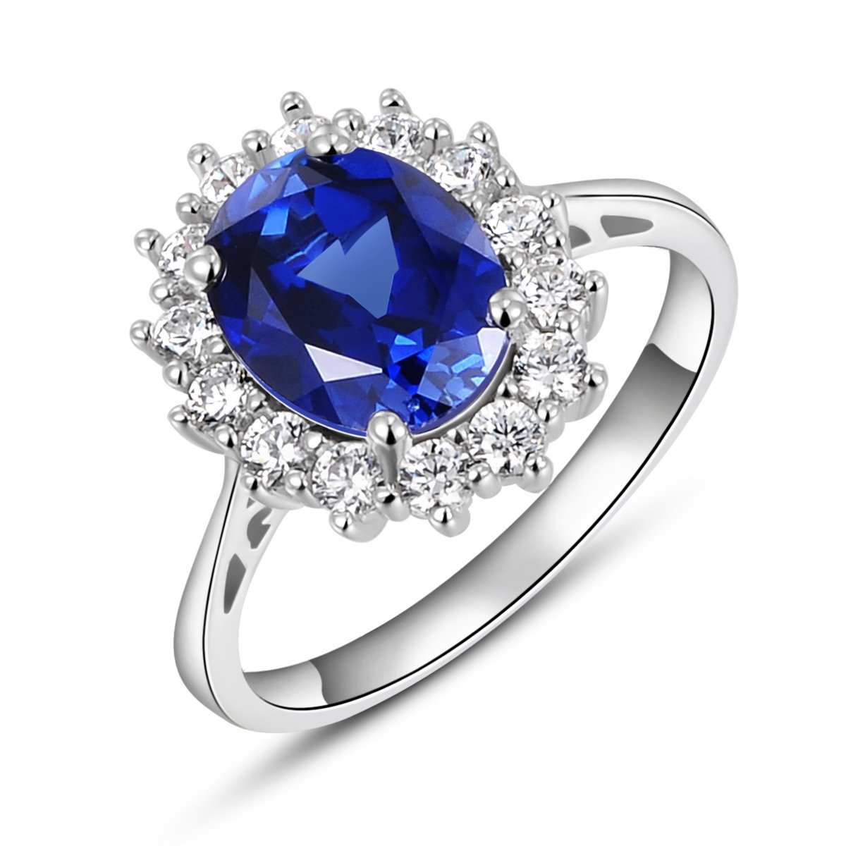 Solid Sterling Silver Kate Middleton's Engagement Ring with Simulated Sapphire Blue Gemstone Rings Newshe Jewellery ZRS01519