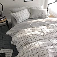 VClife Kids Twin Bedding Sets Cotton Checkered Duvet Cover Sets 3 pcs Bedding Collection Grey White Twin