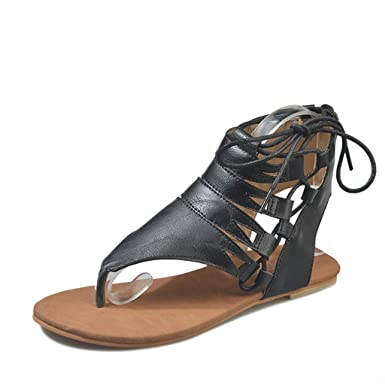 e0b60695b71 Image Unavailable. Image not available for. Color  Womens Roman Strappy  Gladiator Flat Dress Sandals