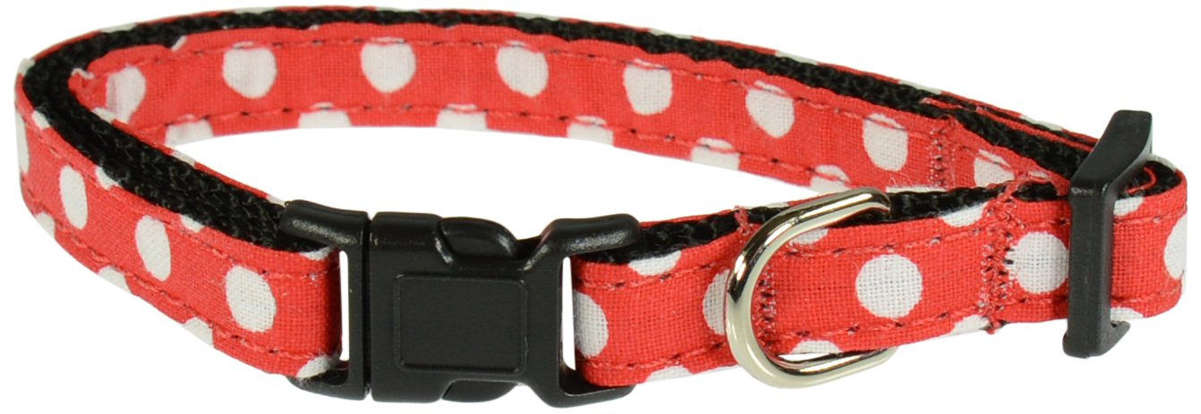 Evans Collars Adjustable Nylon Collar, Small, Polka Dot, Red