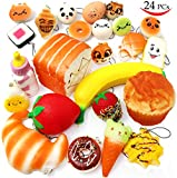 Squishies 24 Pieces Slow Rising Kawaii Scented Squishy Charms Foods ñ Jumbo Medium Mini Soft Panda Doughnut Buns Cake Bread Muffin Phone Charm Key Chain Straps Easter Basket Stuffers Fillers