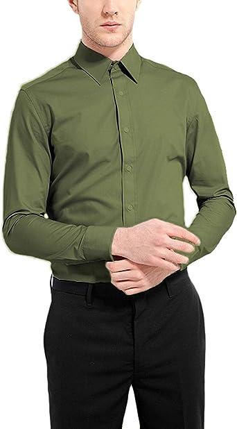 NUTEXROL Camisa Fibra Hombre Ropa de Vestir Lisa, Manga Larga, Slim Fit, Camisa Elástica Casual y Formal para Hombre, Verde Oscuro, XXL: Amazon.es: Ropa y accesorios