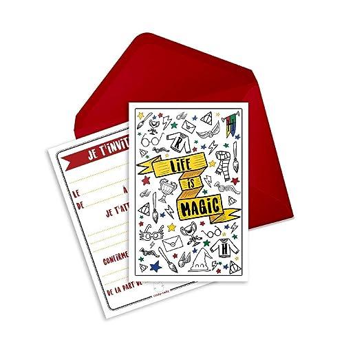 6 Cartes D Invitation Anniversaire Theme Sorcier Ou Magicien Life Is Magic Inspire De Harry Potter En Francais Enveloppes Comprises Amazon Fr Handmade