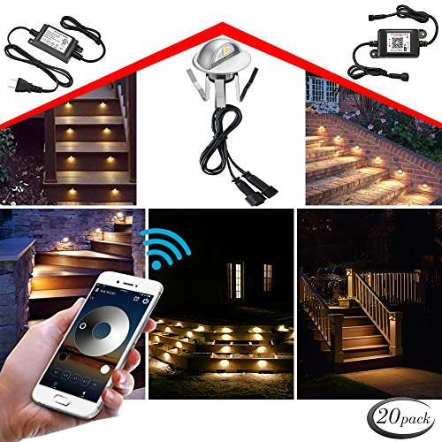 WiFi Deck Lights, FVTLED WiFi Controlled 20pcs Low Voltage LED Deck Lights Kit Φ1.38'' Outdoor Recessed Step Stair Warm White LED Lighting Work with Alexa Google Home, Silver by FVTLED (Image #10)