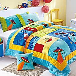 XQL 100% Cotton Boys Spaceship Printed 2 Pieces Short Plush Patchwork Quilted Bedspread Light Blue - Twin Size