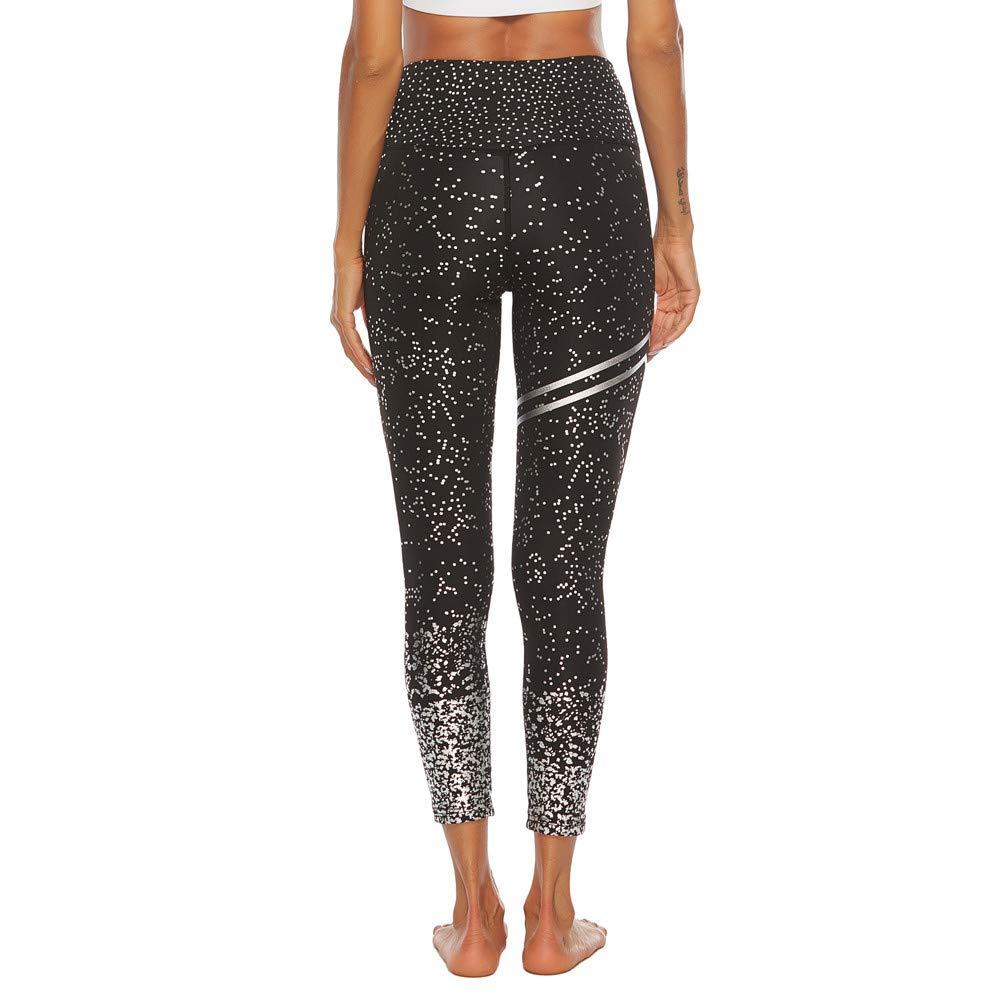 Jaysis Paillettes Femminili Stampa Pantaloni da Yoga Elasticit/à a Vita Alta Fitness Anca Leggings Sottili Fitness Running Pilates Pantaloni