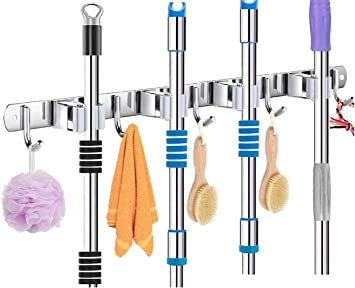 Badezimmer Besen,Gartenwerkzeug Besenhalterung Wand Ger/ätehalter mit 4 Schnellspannern und 5 Haken Mop Besen Ordnungsleiste f/ür Mopp Grau Garage K/üche