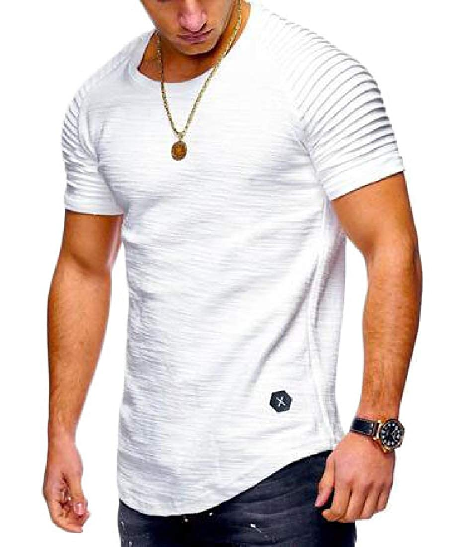 Bigbarry Mens Short Sleeve Summer Tops Tees Ruched Round Neck T-Shirts