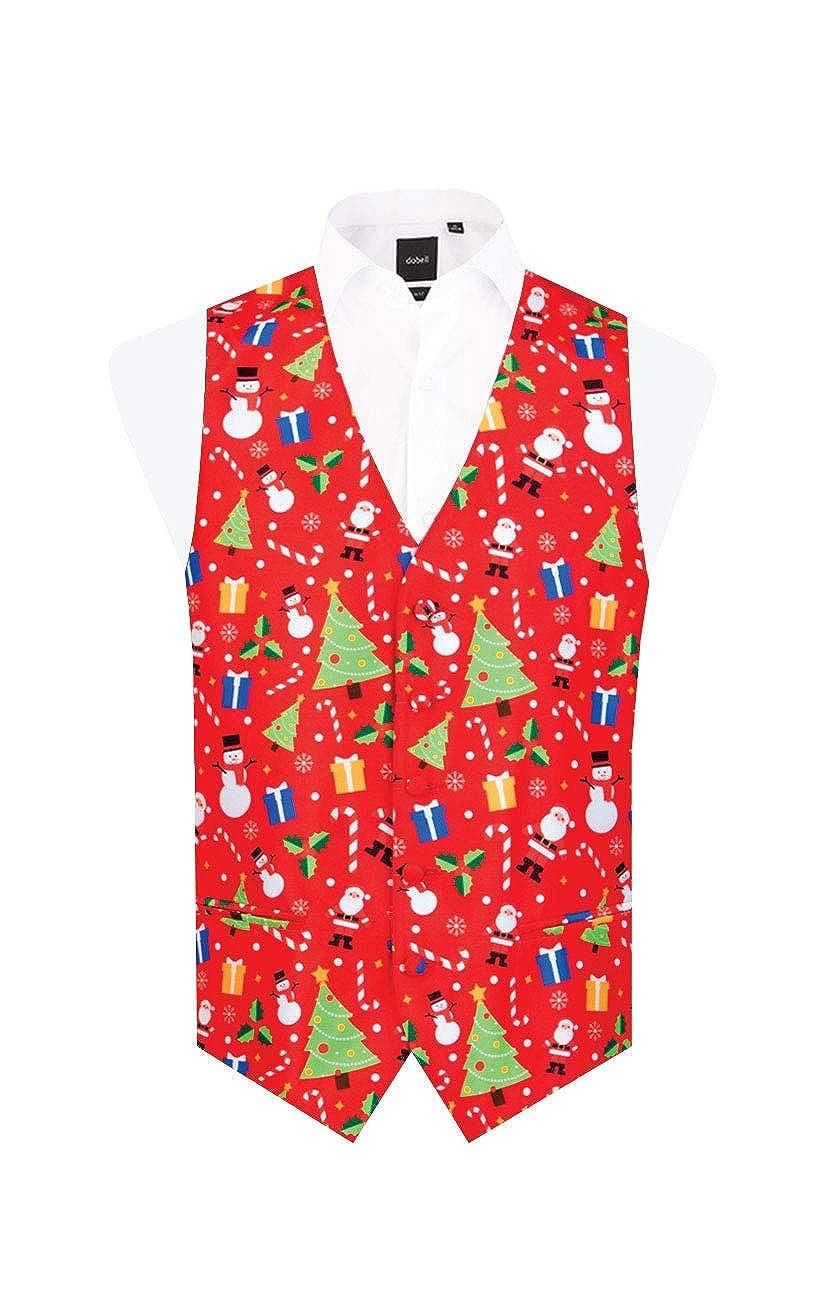 Dobell Mens Red Festive Fun Christmas Waistcoat
