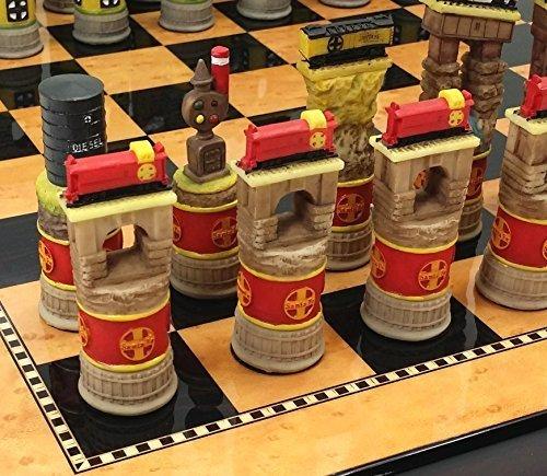 Santa Fe TRAINS Steam vs Diesel Train Engine Chess Set W/ 15` High Gloss Dark Walnut & Birdseye Maple Color Boardの商品画像
