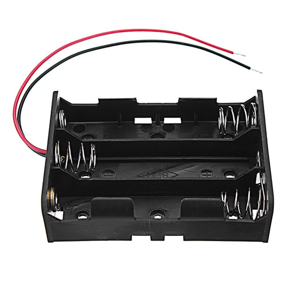LaDicha 3Pcs DC 11.1 V 3 Slot 3 Series 18650 Portabater/ías Bater/ía Caja De Bater/ía 2 Conductores Y Certificaci/ón CE Rohs De La Primavera