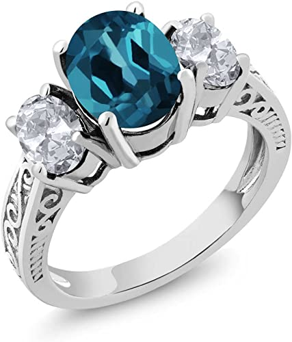 2.80ct Round Cut Diamond 5 Stone Solitaire Engagement Ring 925 Sterling Silver