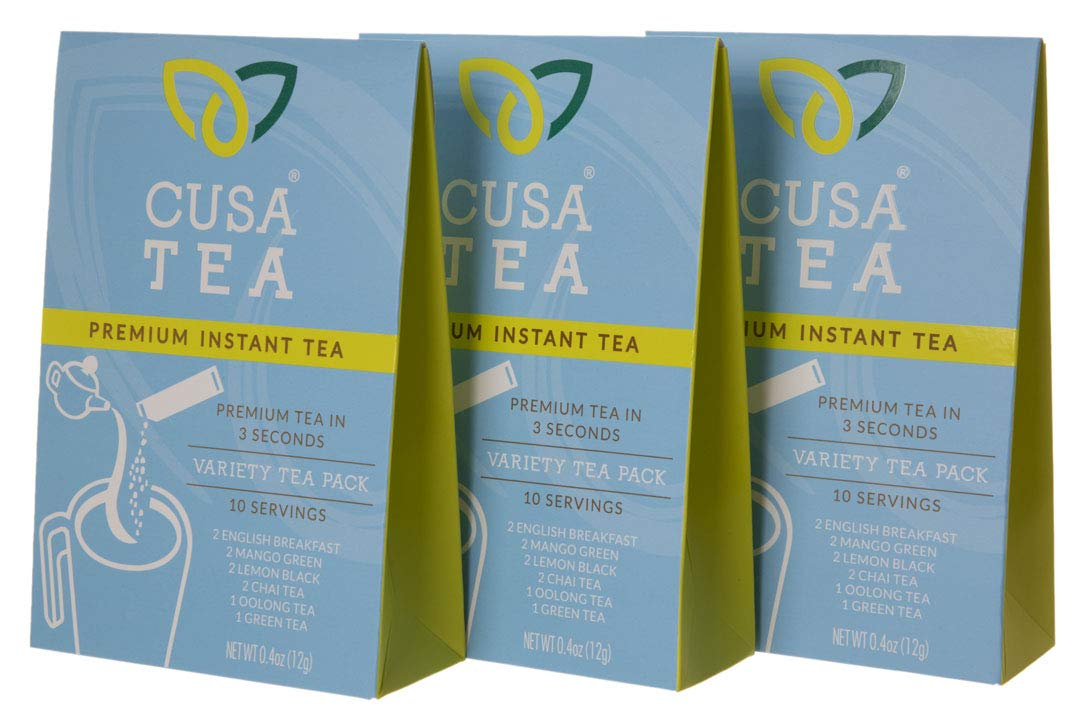 Variety Pack of Cusa Tea Premium Organic Instant Tea - Cold Brew Tea - USDA Organic Certified Tea - Zero Sugar, Preservatives or Flavorings (3 Variety Packs)
