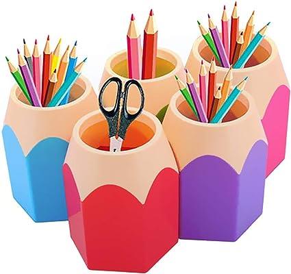 Portalápices 5 Piezas de Escritorio de Organizador de Pluma de Lápices para Oficina y Escuela Casa: Amazon.es: Oficina y papelería
