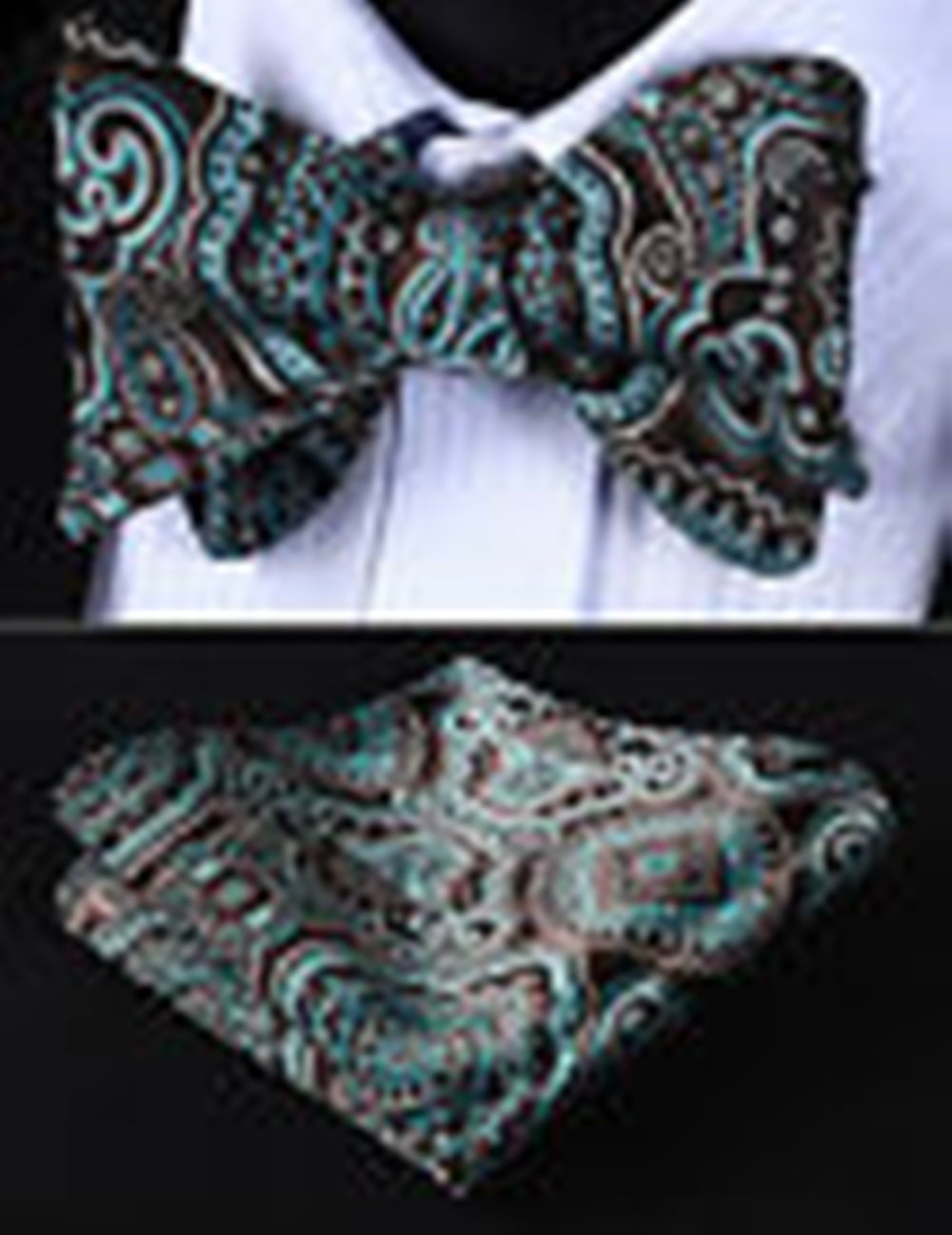 Mondaily DL707Q Aqua Brown Floral Men Cotton Self Bow Tie Pocket Square set #PPTE4695