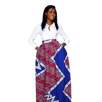 2448d01798f1 SMILEQ Women Dashiki Print Elastiic Dress Retro High Waist Party Boho Ankara  Maxi Long Skirt (
