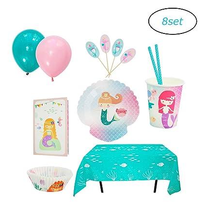 Paquete De Suministros Para Fiesta De Cumpleaños De Sirena