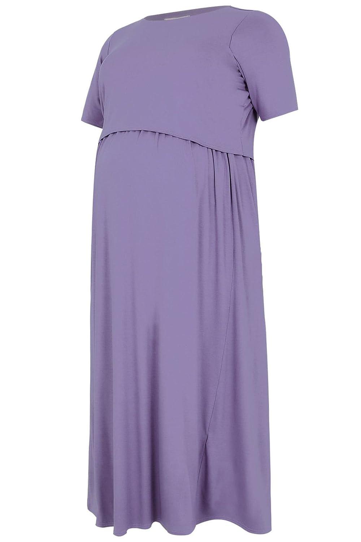 Yours Women's Plus Size Bump It Up Maternity Maxi Dress Nursing Function
