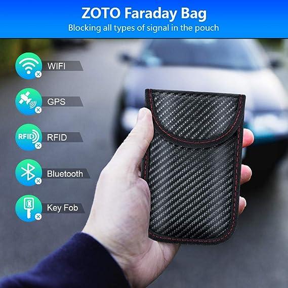 Zoto Keyless Go Protection Car Key Protection Case 2 Pack Rfid Wifi Nfc Blocker Shielding Car Faraday Key Case Key Cover Car Key Safe Auto