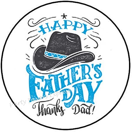 "48 HAPPY FATHER/'S DAY COWBOY HAT ENVELOPE SEALS LABELS STICKERS 1.2/"" ROUND"