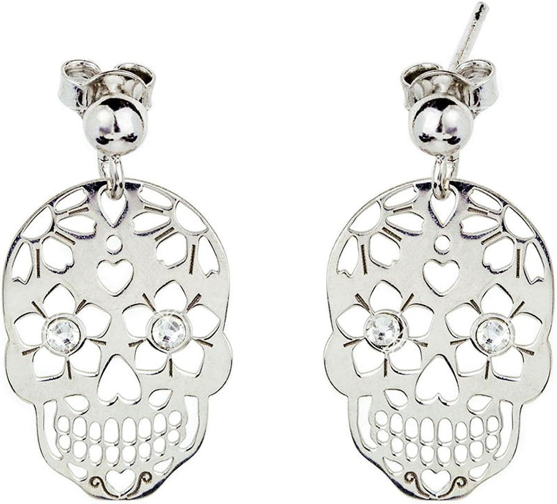 AKA Joyas - Pendientes Tribal Plata de Ley 925 con Colgante Calavera y Cristales Swarovski, Regalo para niñas y mujer joven