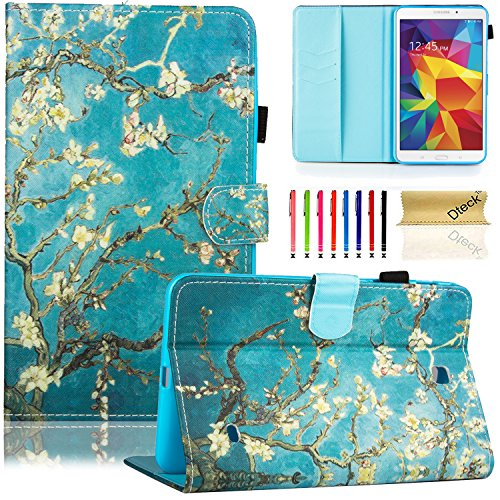 Tab 4 8.0 inch case,T330 case, Dteck(TM) Flip Stand PU Leather Case with Cards/Money Slots [Auto Wake/Sleep Feature] Protective Case Cover for Samsung Galaxy Tab 4 8.0 inch SM-T330,Blossom (8 Tab Inch Folio 4 Samsung Galaxy)