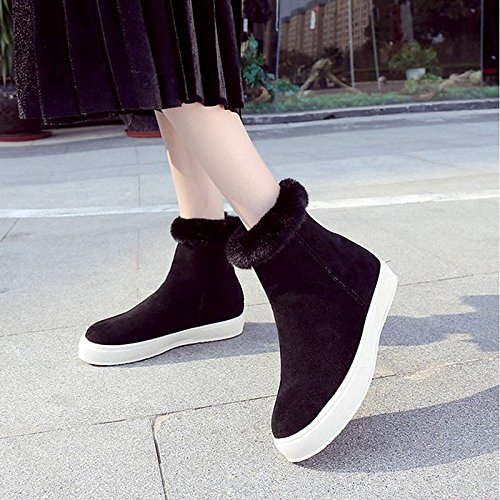 Flat Boots Shoes HSXZ Toe Mid Black Round Fall Heel Casual PU for ZHZNVX Nubuck Combat Black Women's leather Winter Almond Boots Comfort Calf Boots n7wvSFx