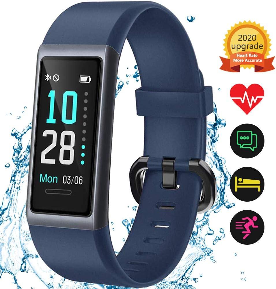 KUNGIX Pulsera de Inteligente Mujer, Smartwatch Impermeable IP68 con 14 Modos de Deporte, 0.96 Inch Pantalla Color Reloj Deportivo con Pulsómetro para Hombre Android iPhone iOS Teléfono