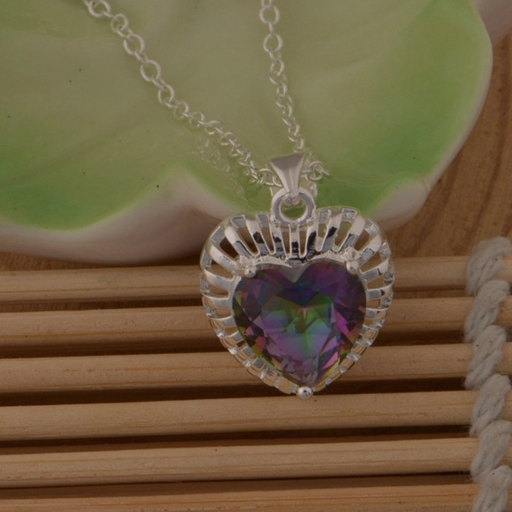 Onefeart Sterling Silver Pendant Necklace for Women Colorful Crystal Hollow Heart Shape 45CMx21X15MM