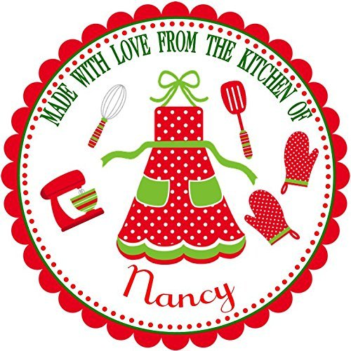 40 Personalized Christmas LABELS Party Favors Holiday STICKERS Christmas Baking Food Labels SIZE OF CHOICE