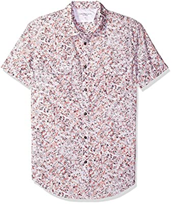 Calvin Klein Jeans Men's Short Sleeve Keleidascope Print Button Down Shirt