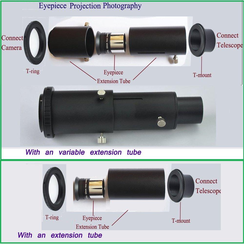 Solomark Objectif dappareil photo t/élescopique SLR//DSLR avec adaptateur de support et bague T de 3,2/cm fixer l/'appareil au t/élescope pour lastrophotographie