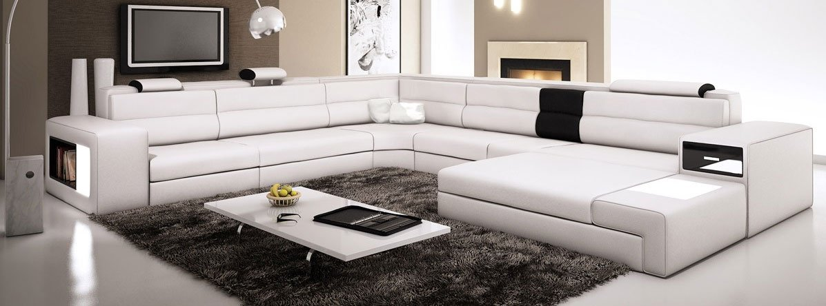 Amazon.com: White Contemporary Italian Leather Sectional Sofa: Kitchen U0026  Dining