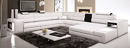 Amazon.com: White Contemporary Italian Leather Sectional Sofa ...