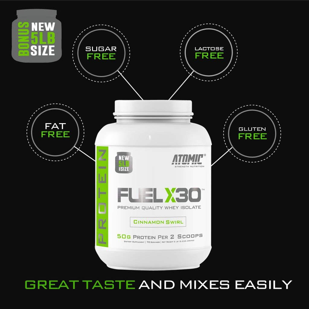 Fuel X30 Whey Isolate Protein by Atomic Strength Nutrition   Premium Quality Sugar Free Fat Free Gluten Free and Lactose Free (Cinnamon Swirl, 5 Pound)