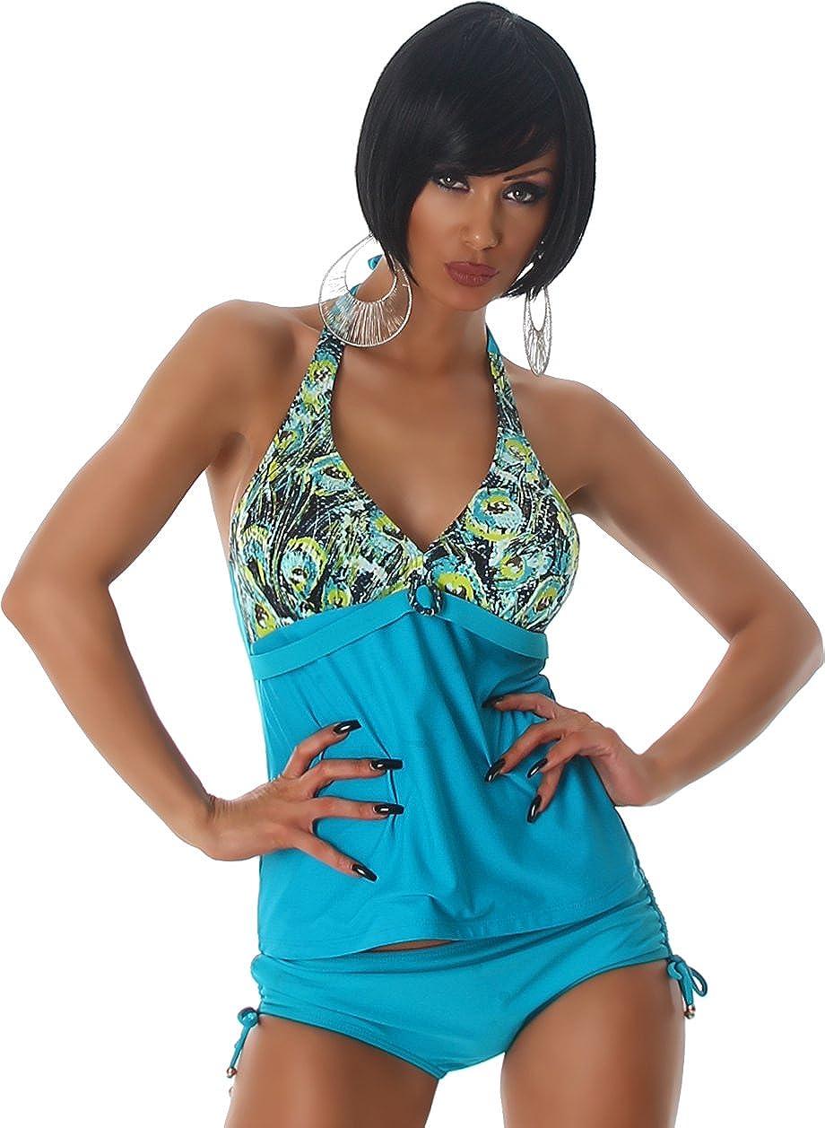 Esther Queen Stampa Donna Tankini Bikini due pezzi Halter Uni Push-Up Bikini Top Beachwear degli animali