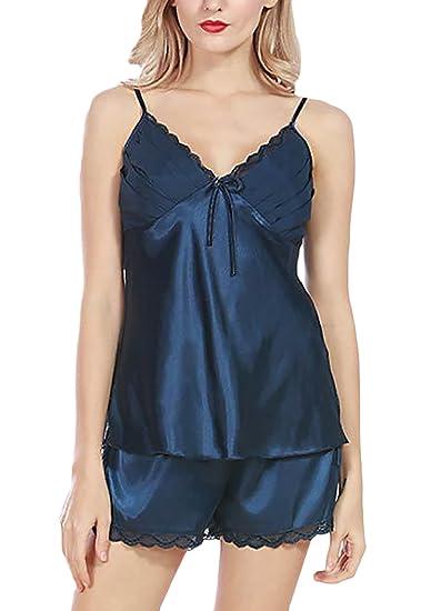 Pijamas Mujer Cortas Verano Elegante Tirantes V Cuello Espalda Abierta Tops+Shorts Homewear Casuales Moda