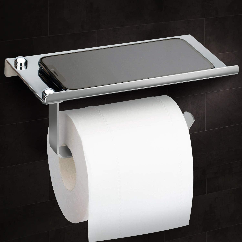 Toilettenpapierhalter Edelstahl Klopapierrollenhalter Wandhalterung Klorollenhalter WC Klopapierhalter Papier Halterung Rollenhalter mit Ablage Toilettenpapierhalter