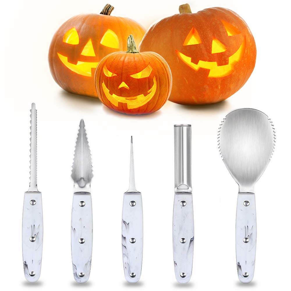 2019 Professional Halloween Pumpkin Carving Kit, Heavy Duty Stainless Steel Carving Tools Set for Halloween Decoration, Sturdy Sculpting Jack-O-Lanter Knife Set by Fancymay