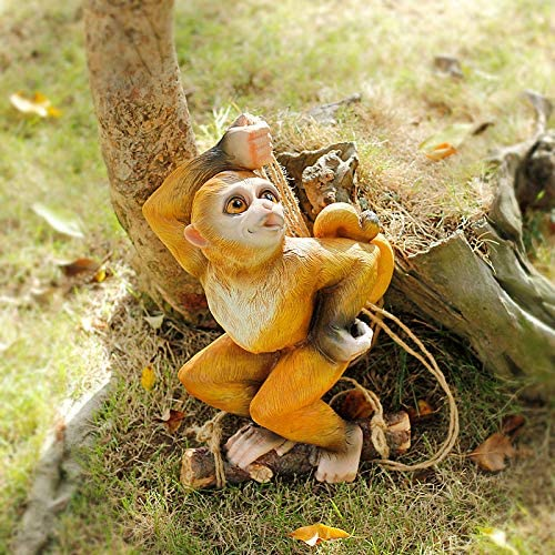 Garden Ornaments Climbing Monkey Tree Hanging Garden Tree Ornament Statue Sculpture Decoration B Kisetsu System Co Jp