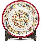 14'' Platon Blanco y Rojo Woodcarving Lacquer Mexican Folk Art