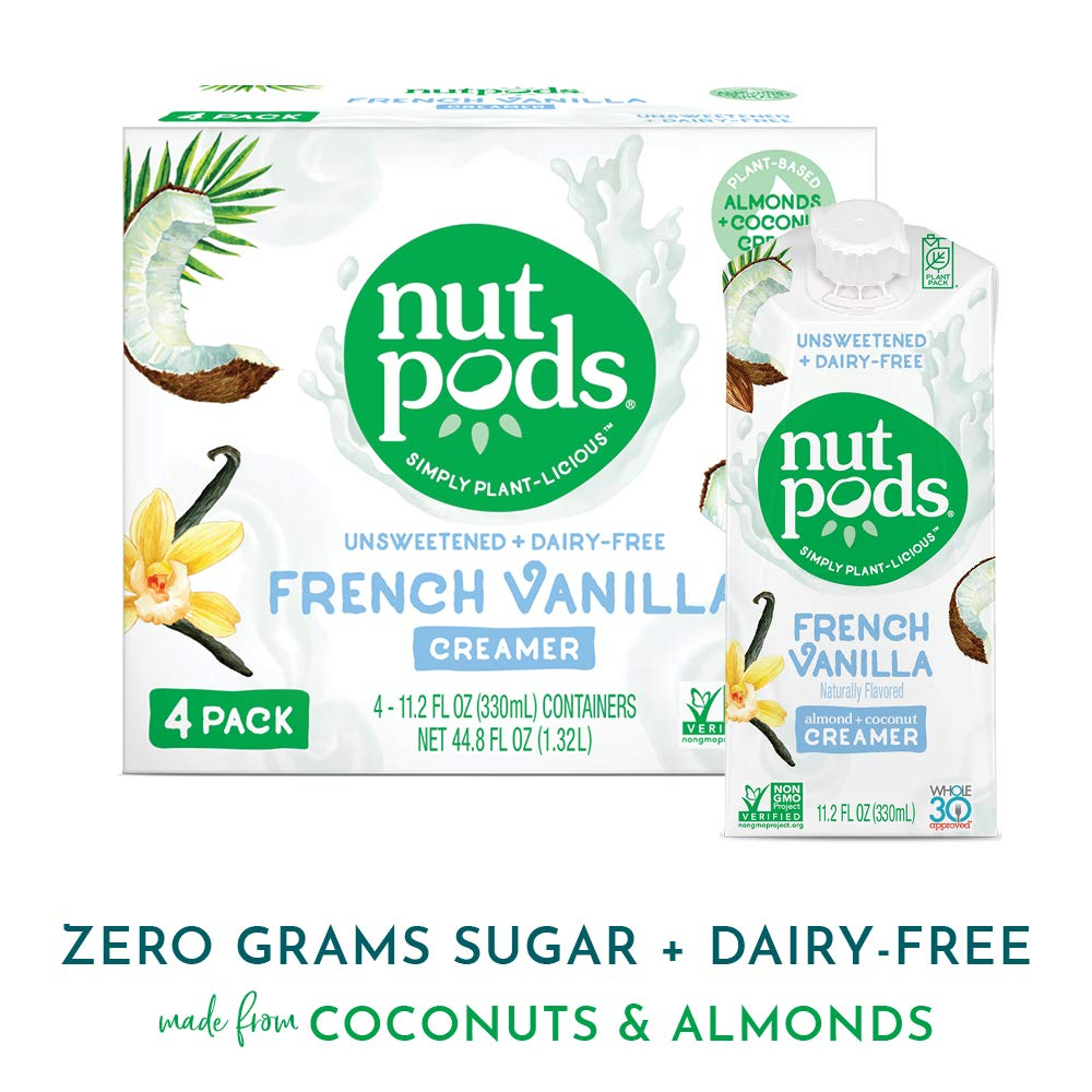 nutpods French Vanilla Dairy-Free Liquid Coffee Creamer (4 pack) - Whole 30 Approved Keto Coffee Creamer - Unsweetened Sugar Free Coffee Creamer Made From Almonds And Coconuts