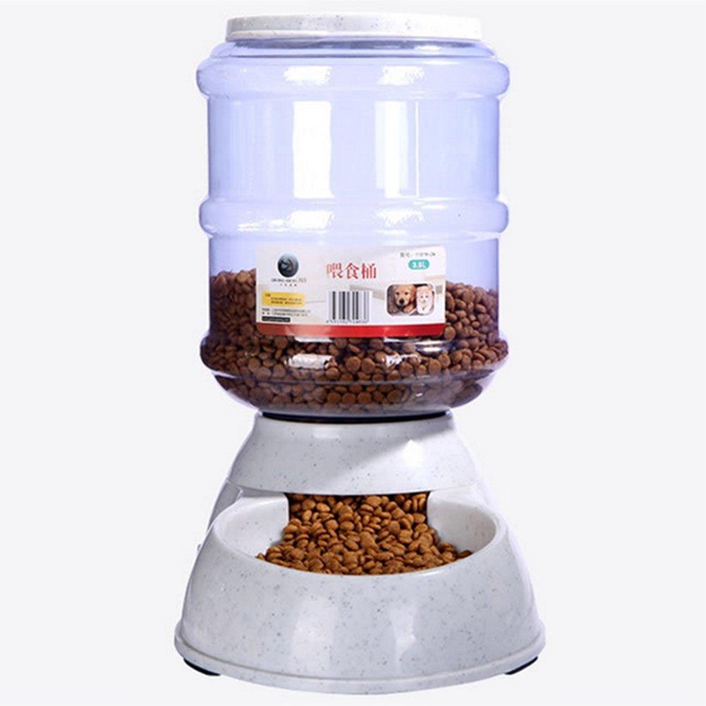 Leoie 3.5L Automatic Pet Food Drink Dispenser Removable Dog Cat Feeder Water Bowl Dish