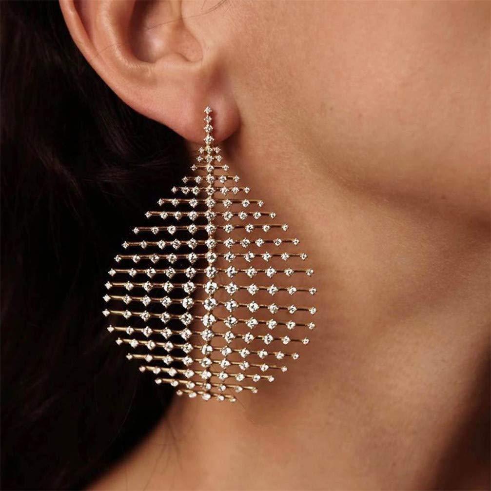 Myhouse Women Crystal Waterdrop Dangle Stud Earrings Punk Rhinestone Big Earring Women Jewelry Accessories Gifts