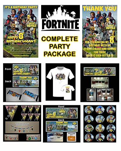 COMPLETE FORTNITE BIRTHDAY PARTY PACKAGE.Invitations, Party favor, goody bag toppers and a birthday t shirt!!