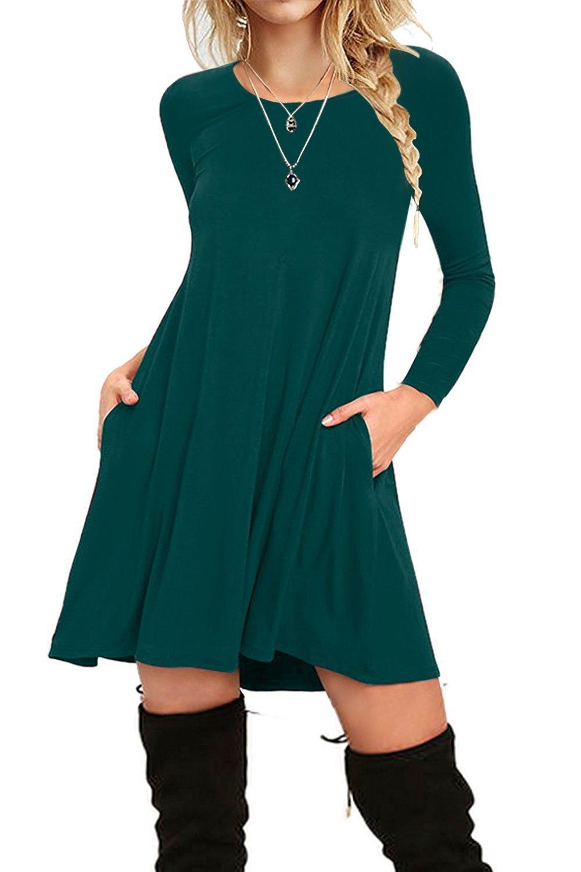 I2CRAZY Women's Long Sleeve Pockets Casual Plain T-Shirt Loose Dresses(1-02-Long Sleeve-Dark Green,L)