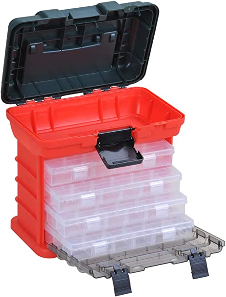 Plastic Box MEIJIA Outdoor Fishing Tackle Boxes Plastic Storage Organizer Box with Removable Dividers Fishing Tackle Storage,Off-White