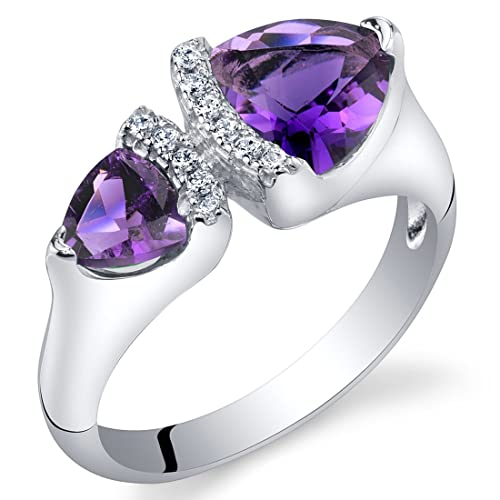 Forever Us Two Stone Trillion Ring Sterling Silver Sizes 5 to 9 in Various Gemstones