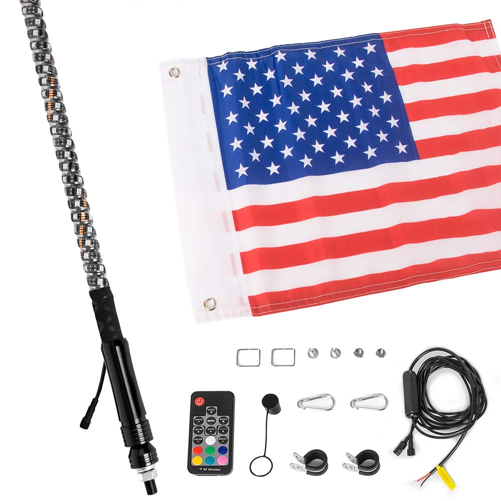 21 Modes Lighted Whips Antenna W//Flag for UTV ATV Polaris RZR Quad Off Road Jeep Can-am Maverick Yamaha Sand Dune Buggy 4X4 GTP 4ft Spiral LED Whip Lights 360/° Twisted 20 Color RGB